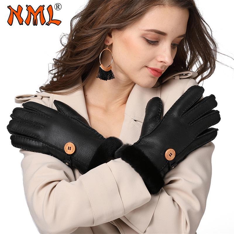 Женские перчатки Новая мода натуральной кожи шерсти меховые перчатки Милые девушки кожа овчины Винер Теплые варежки