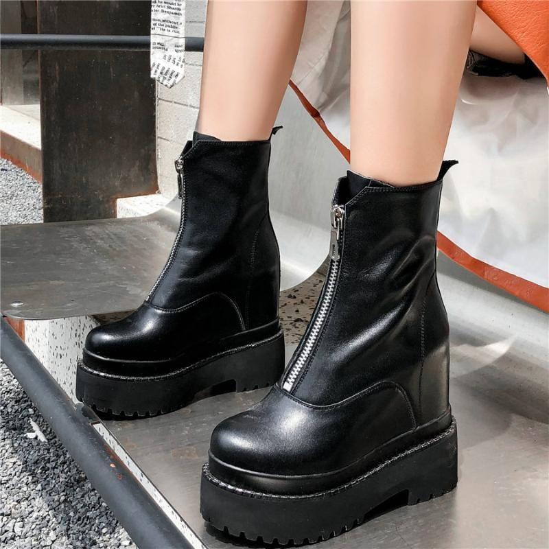 Freizeitschuhe Frauen-echtes Leder Chunky High Heels Stiefeletten Female Round-Zehe-Plattform-Keil-Pumpen-Schuhe Fashion Sneakers