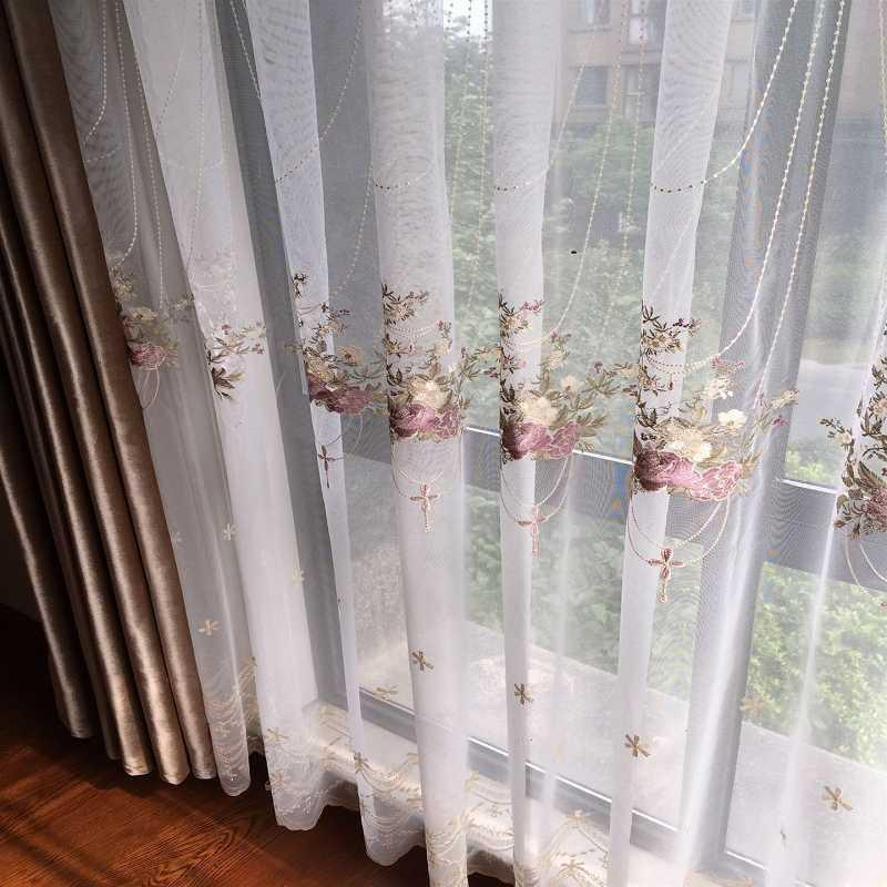 French Curtainsfor Living Room Bedroom Romantic Embroidered Tulle Screen Pastoral Hanging Basket Finished Product Customization