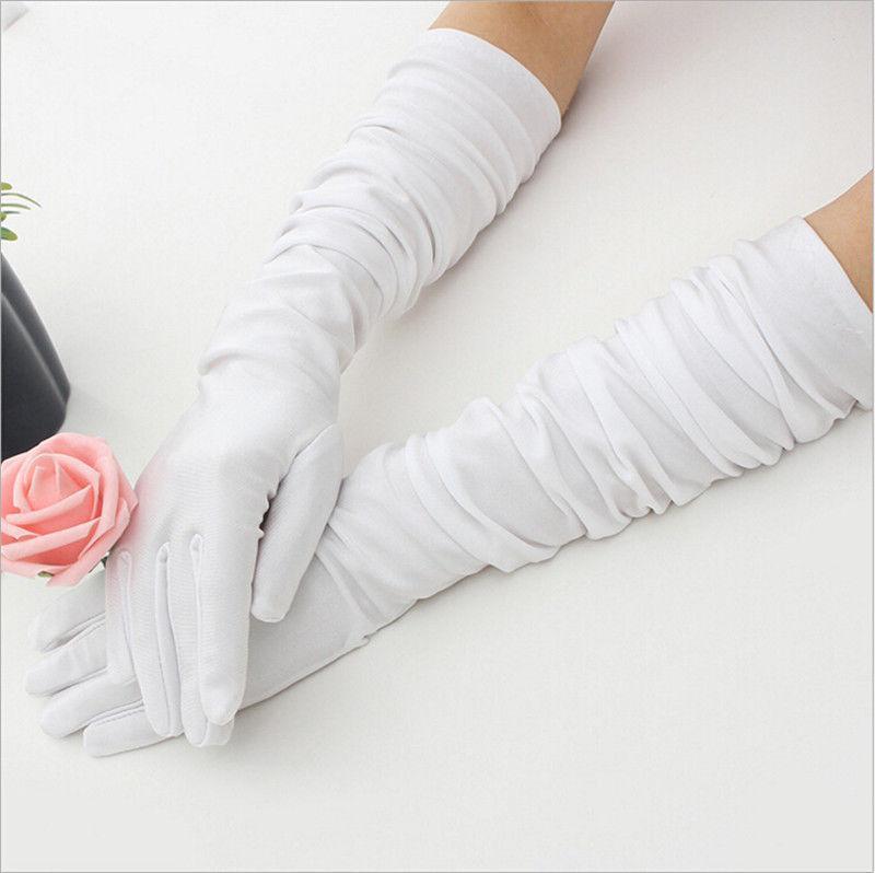 1 Paar Dame Frauen Lange Satin Stretch Handschuhe Partei-Abend Opera Prom Handschuhe Frauen Accessoires