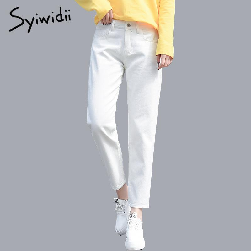 Algodón blanco arrancó jeans para mujeres de cintura alta Harem mamá tamaño de los pantalones tejanos Cielo manera más del Negro de mujeres Jeans de color beige 2020 CX200821