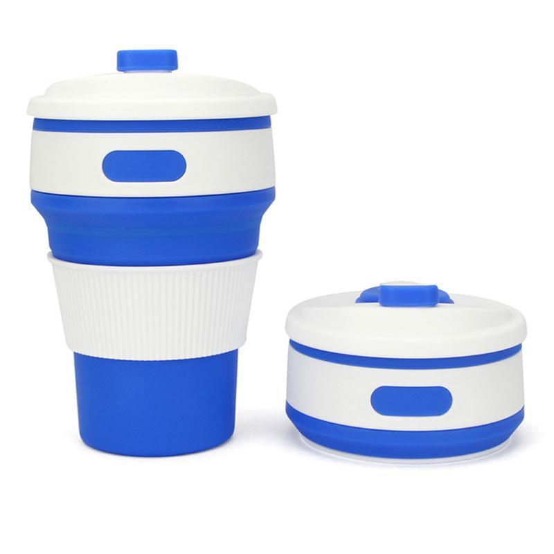 Tasses à café Tasses Pliable Voyage en silicone 350ML réutilisable pliant sans BPA avec Couvercles Fit Portable poches Sac à dos