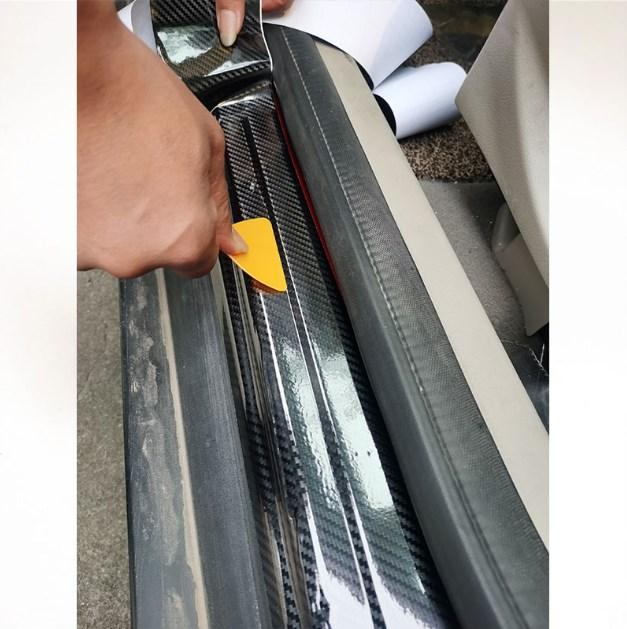 Nano Carbon Fiber Car Sticker DIY Paste Protector Strip Auto Door Sill Side Mirror Anti Scratch Waterproof Protection Film