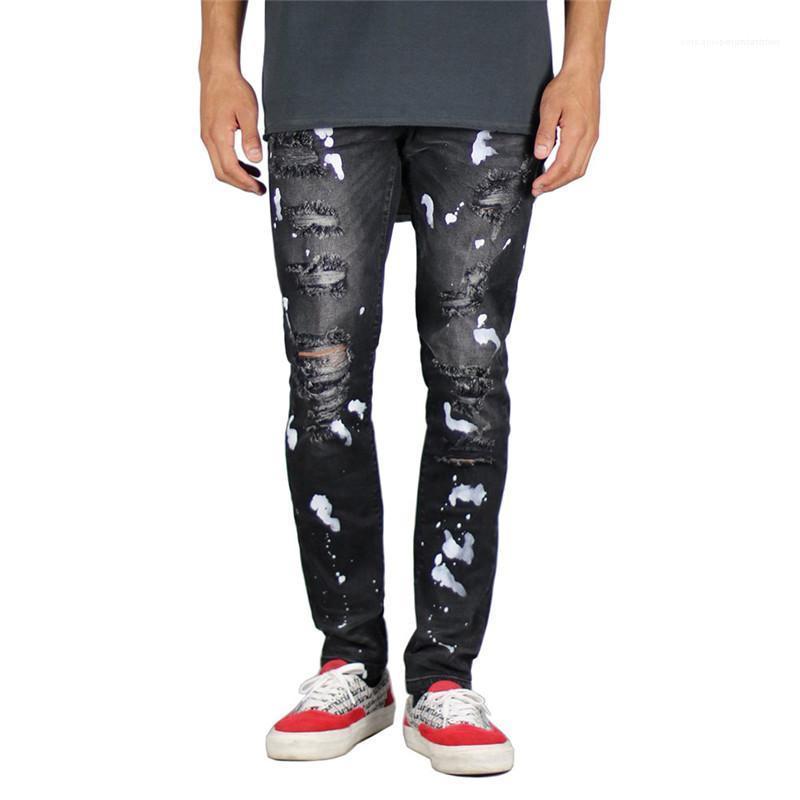 Lavato jeans strappati personalità Via Mens pantaloni dei nuovi uomini di arrivo del progettista dei jeans di moda spruzzi d'inchiostro e la vernice con Cerniera