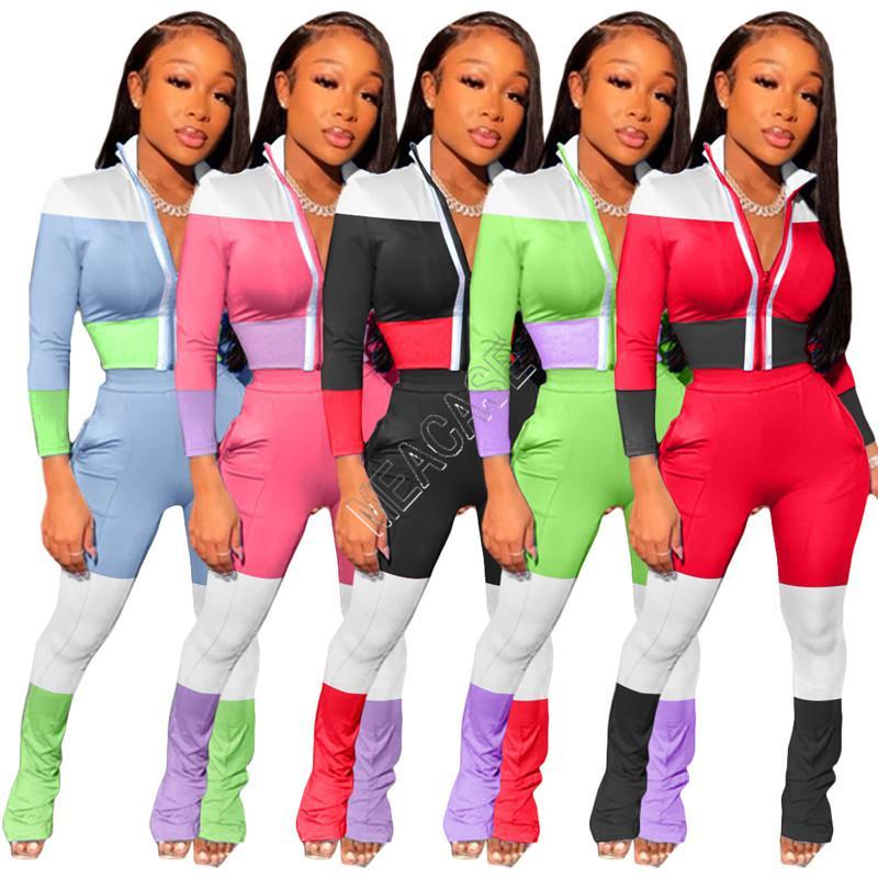 Frauen Anzug neue Art und Weise Reflektierende Streifen Patchwork Zip-Jacken-Mantel-Block Outfits Legging Hosen Trainingsanzug Zwei Stück Kleidung D82007