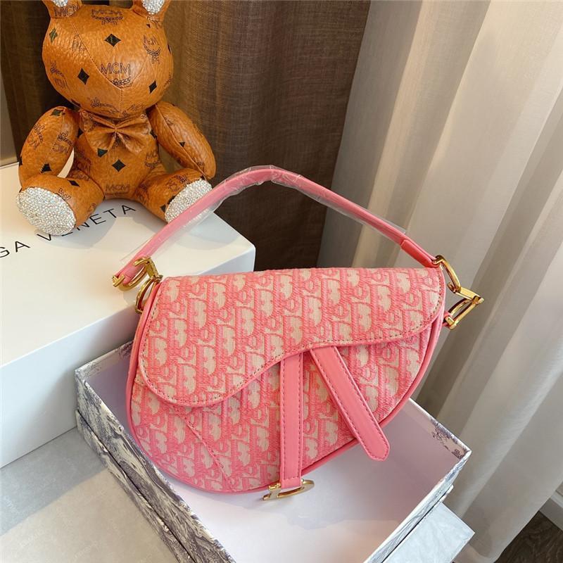 Lüks moda dimi jakar tuval tasarımcı Kırmızı eğilim eyer çanta tasarımcısı omuz çantası çanta parti 23cm bayswater çanta