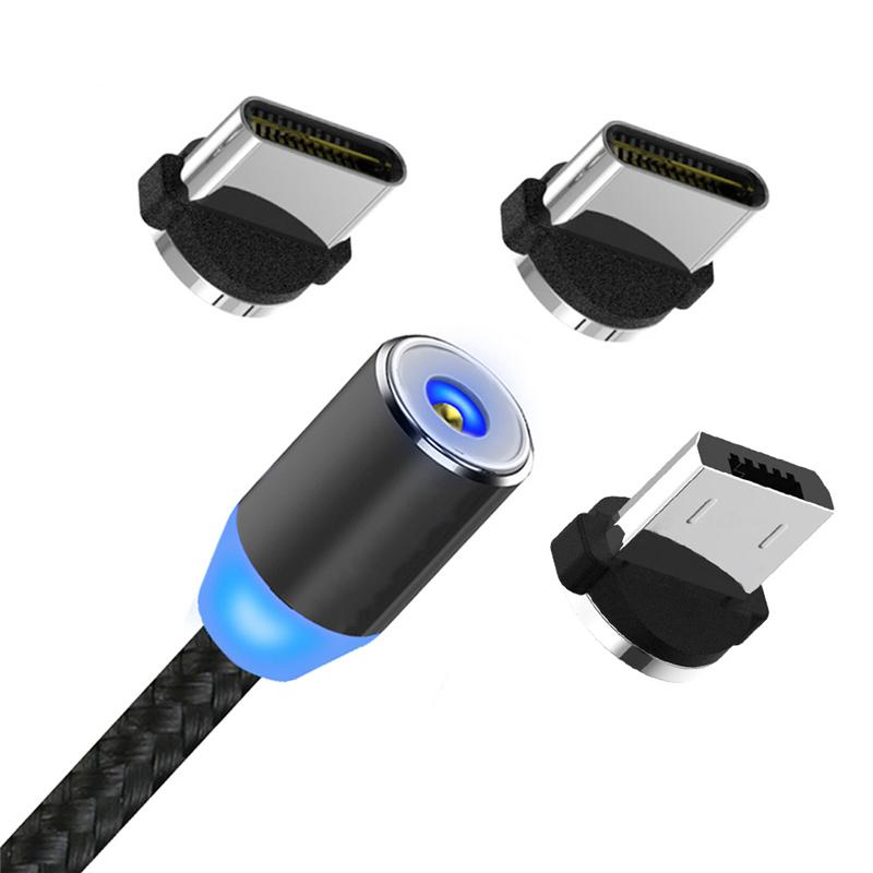 3 في 1 شاحن مغناطيسي كابل 2a نايلون LED متوهجة الحبل 1 متر مايكرو USB نوع C شحن كابلات لسامسونج هواوي