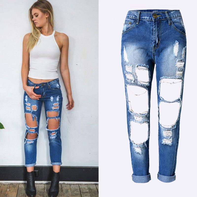 Womens Ripped Jeans Women Hole Destroy Jeans Pants Fashion Casual Style Jeans for Women EU/US Size