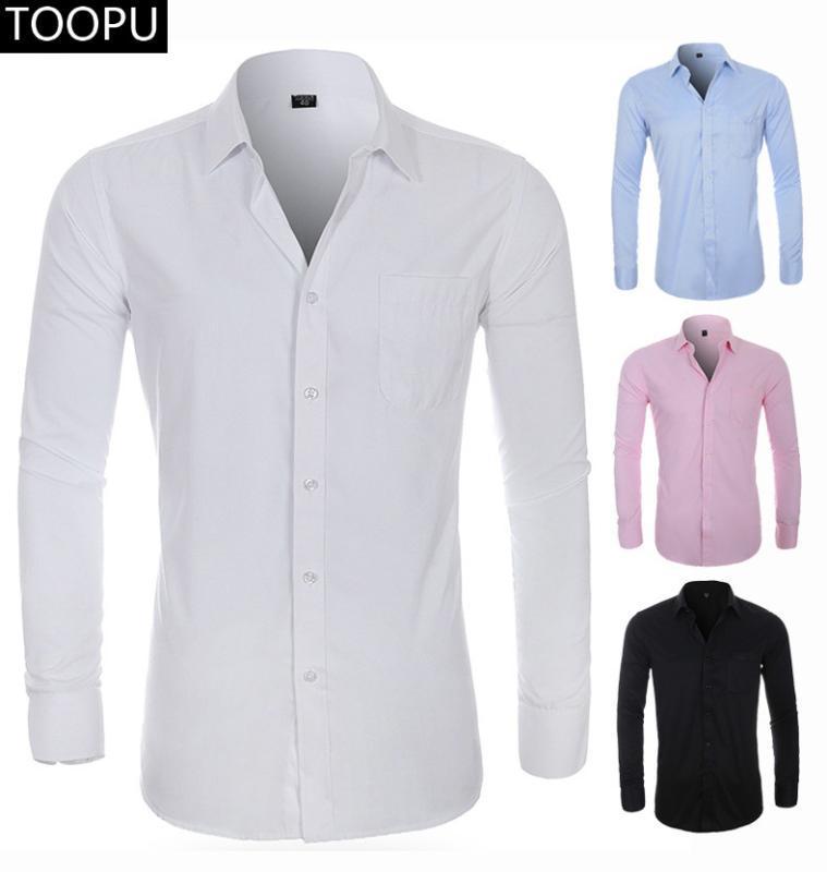 Sol Göğüs Pocket Erkek Casual Düzenli-fit ile 2020 YENİ Erkek İpek Gömlek Uzun Kollu Katı Elbise Gömlek Aşağı Gömlek Tops