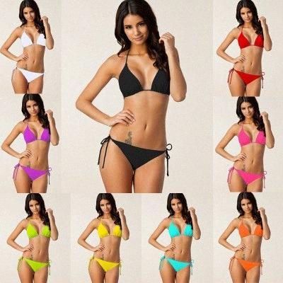 Verano sólido Push Beach Hasta Bikinis atractivo de las mujeres de dos piezas traje de baño con el cojín del sujetador femenino Swin Trajes vKS4 #