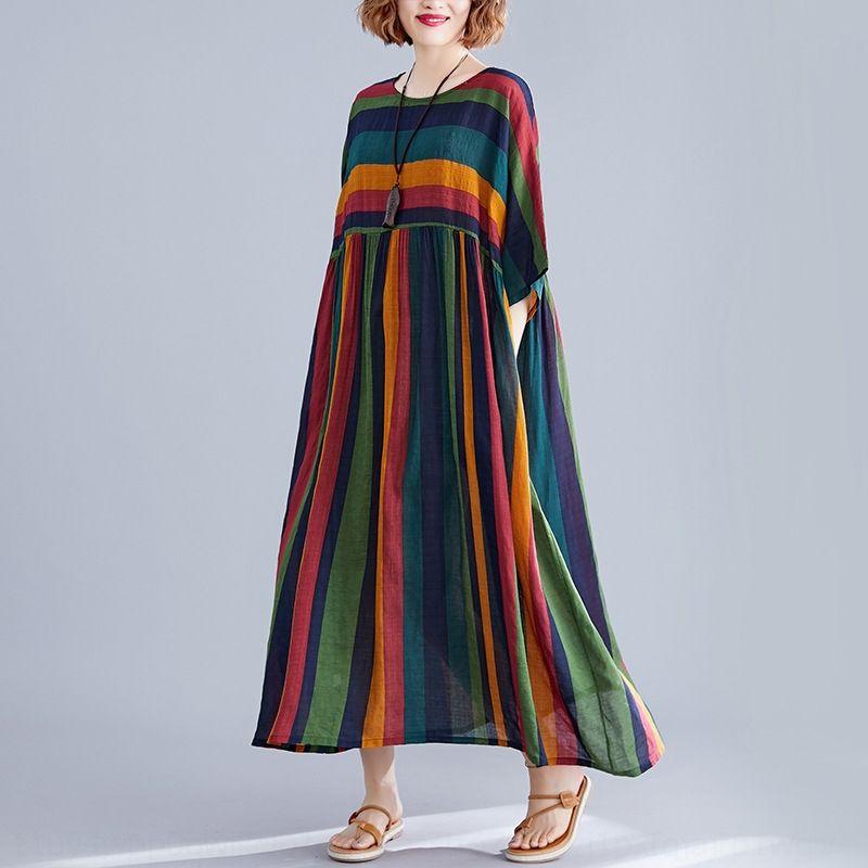 rkV9F manga Artístico Algodão e linho vestido de grande porte das mulheres solta costura listrado de algodão e de comprimento médio linho vestido curto Xji66 2020 Su