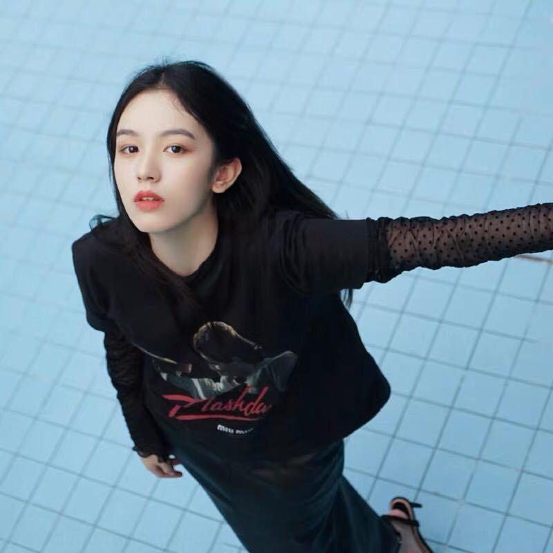 OTDm9 aq98R Şarkı Yan Zhou Ye Zhang Ruonan aynı stil 20 gevşek baskılı tişört üst Kore tarzı Coat kadı s için kısa kollu siyah tişört üst
