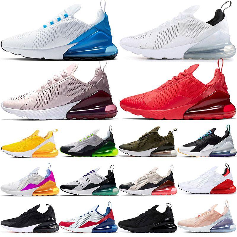 2020 stock x nike air max airmax 270 hombres mujeres zapatos para correr triple negro blanco arco iris Bred hombres transpirable para hombre zapatillas de deporte al aire libre