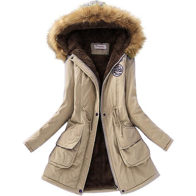 Laamei Женщины Parka Теплый куртки меховой воротник пальто Женщины Длинные ветровки толстовки Офис Lady Cotton Plus SizeAutumn Winter JacketMX190907