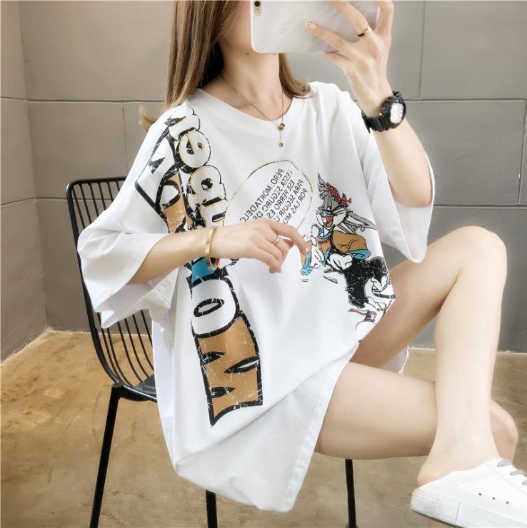 YZcgQ Una varietà di s top a maniche corte in stile 2020 Estate allentato coreano di cotone stampato cotone lettere T-shirt di media lunghezza donna di grandi dimensioni T-