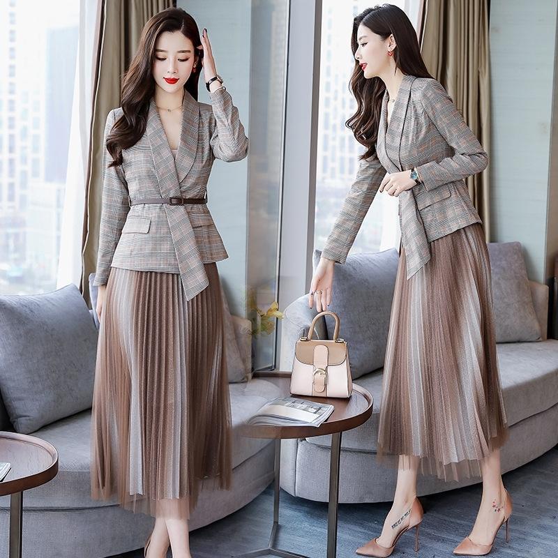 terno 2020 Primavera do HPCQS oy0Na Mulheres e Primavera on-line Moda coreano estilo outono novo das mulheres de duas peças high-frio estilo real irmã moda