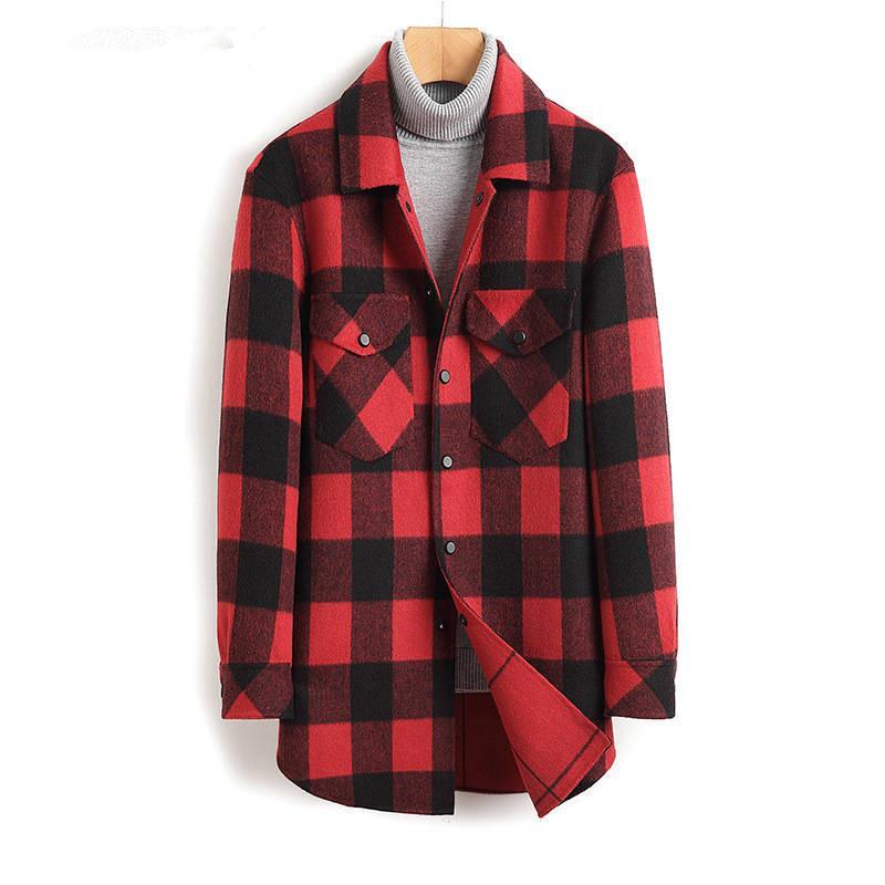 Мужская шерсть смешивает осенью и зимний плед с двусмысленным пальто Длинный раздел ручной работы без кашемировой ветровки шерстяной