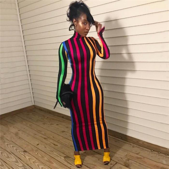 Moda de ropa de mujeres de Bodycon de rayas Cuello alto diseñador del vestido de otoño del resorte de talle alto de manga larga One Step Vestidos Femaes
