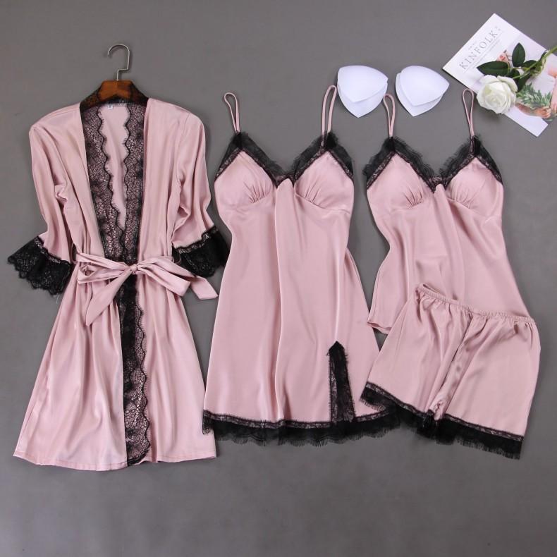 Verano nuevo de las mujeres ropa de noche de 4PCS Nightyrobe Conjunto floja ocasional Kimono vestido de baño ropa de dormir Sleep Conjunto del cordón atractivo del camisón de Homewear