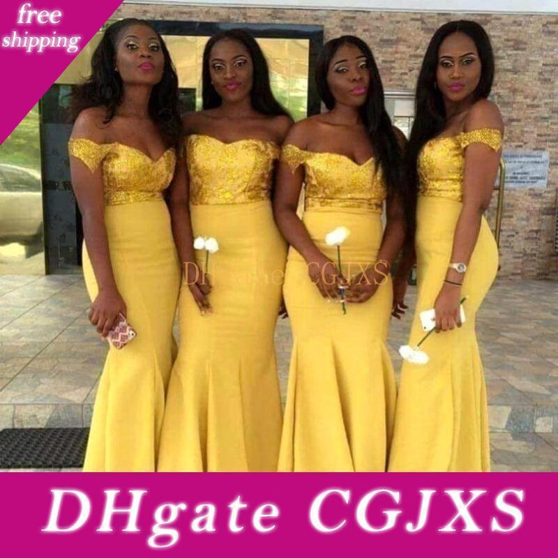 2020 African Yellow Sequined Top Mermaid Brautjungfer Kleider weg von der Schulter Sweep Zug plus size Hochzeit Kleider Mädchen der Ehre Kleider