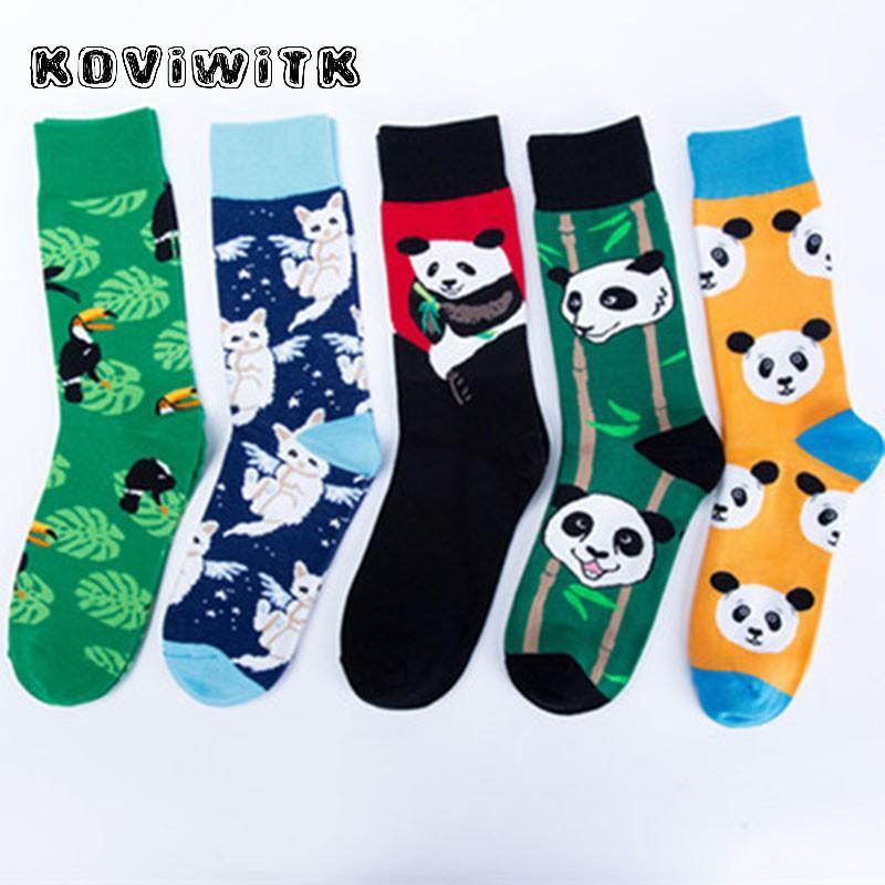 Симпатичные животные панда носки смешно вскользь Женщины Хлопок носки Мода Женский теплый Harajuku Cat Bird Носок зимой Рождественские спортивные SOX