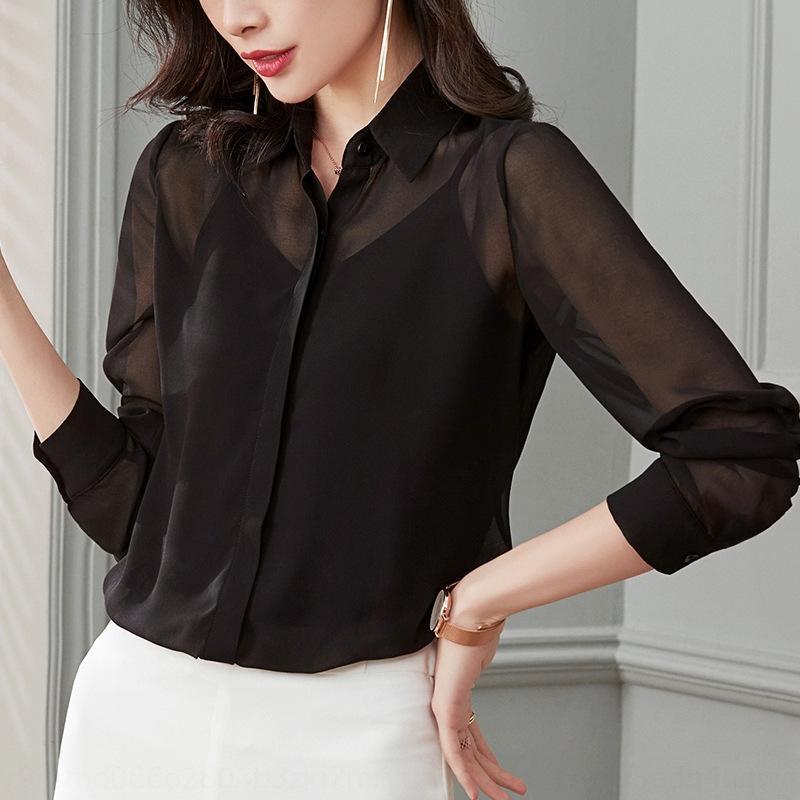 fuDIr Siyah kadın moda Kore tarzı şeffaf üst Üst Gömlek gömlek kadın uzun kollu perspektif 2020 yeni bahar elbise fas şifon
