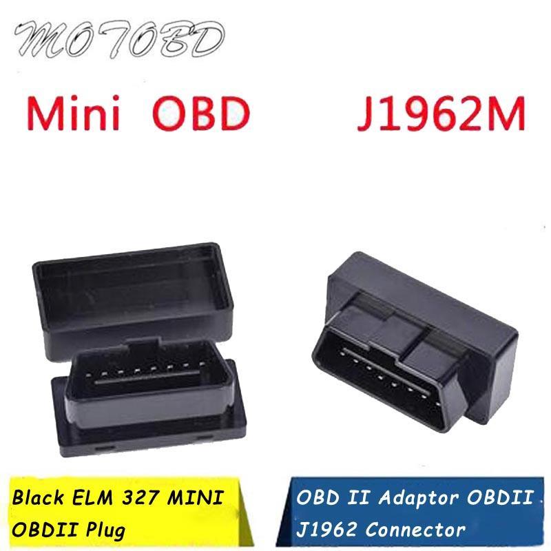 Nouvelle arrivée 10MM 14MM 20MM Noir ELM 327 MINI OBDII Plug-OBD2 OBD 2 16 Adaptateur Broche OBD II J1962 OBDII Connecteur