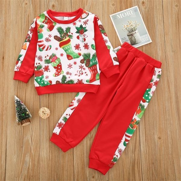Costume de Noël tout-petits vêtements fille Set chaussettes de Noël Imprimer Rouge Boutique Enfants Vêtements Coton Casual Automne Filles Tenues 0927