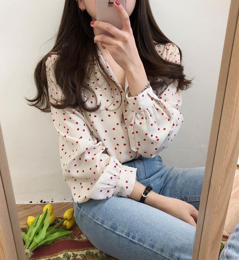 bVIL7 2020 весной и осень рубашка Новых корейские пригородный сыпучие горошек дизайн чувство ниша все-матч отвороту с длинным рукавом шифон рубашки