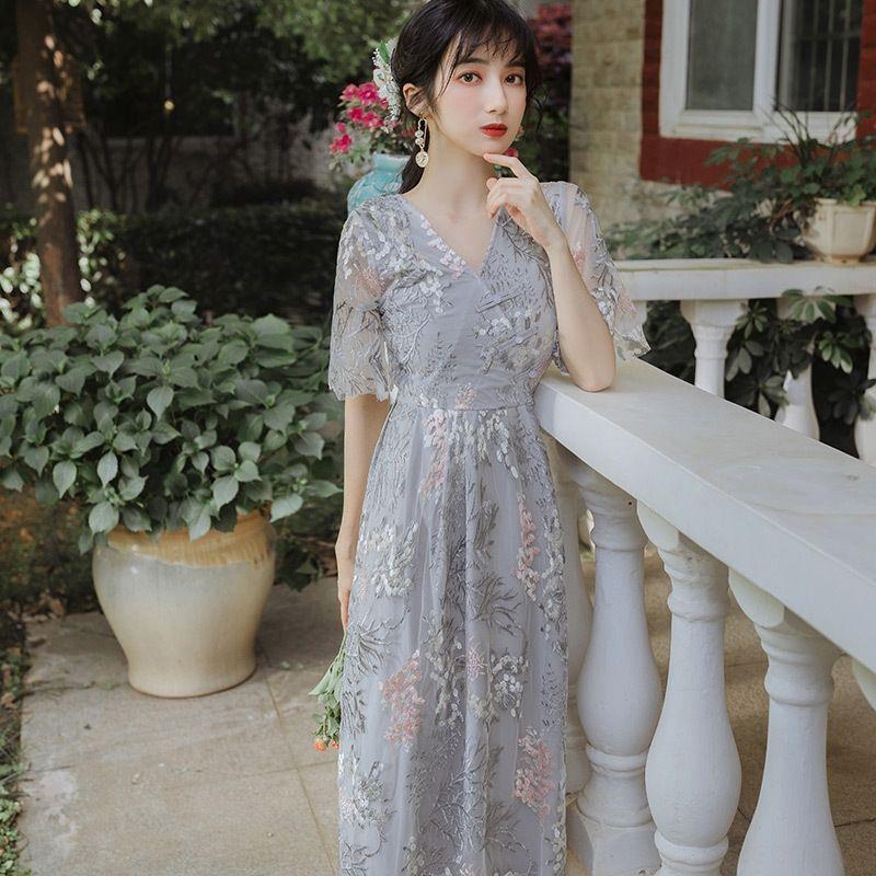 2Gcug 2020 Sommer neue Super-Fee Mori verbessert Blumen 2020 Sommer-neues Kleid Super-Fee Mori Kleid Blumen cheongsam cheongsam verbessert