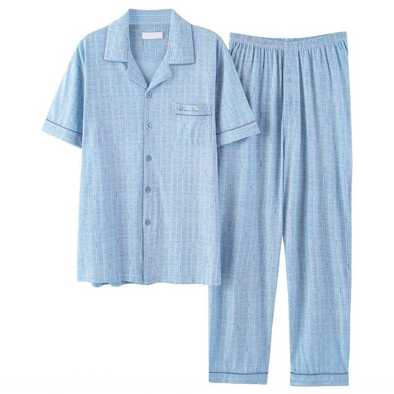 gvTbP Männer Qualitätsbaumwollklage beiläufige dad kurzärmelige Hose gestreift Hauptkleidung Sommer-Pyjama Pyjama Baumwollfrühling