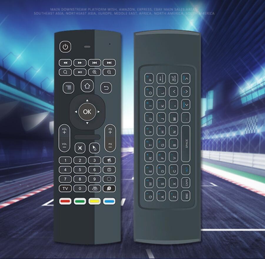 IR Öğrenme Qwerty 2.4G Wireless Uzaktan Kumanda 6Axis Fly Air Fare Arkadan aydınlatmalı gampad İçin Andro ile X8 Arka Işık MX3 Mini Klavye