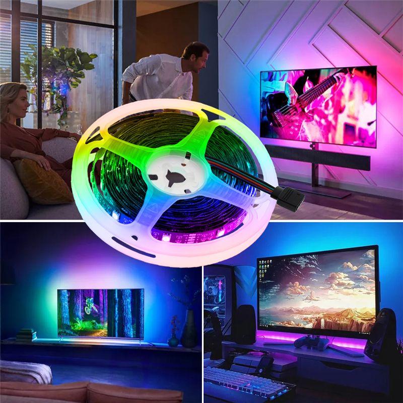 Luz de tira LED RGB Ribbon Flexible Fita LED LED 60 LEDs / M con control remoto 1m 2m 3m 4m 5m Cinta LED