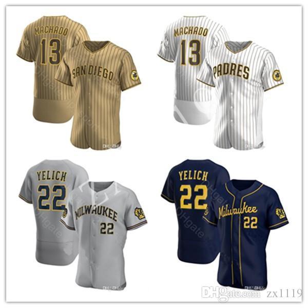 2020 Padres Formalar Yeni 13 Manny Machado 22 Christian Yelich Jersey Beyzbol Gömlek Krem Donanma Alternatör Gri Beyaz Kahverengi Ev Formaları Dikiş
