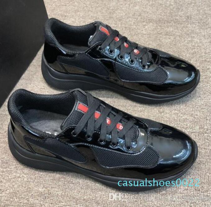 Tasarımcı Sneaker erkekler Amerika Kupası'nın rugan naylon ayakkabı Lüks Ayakkabı Erkek dantel yukarı Traniers Plume dana derisi c22 için