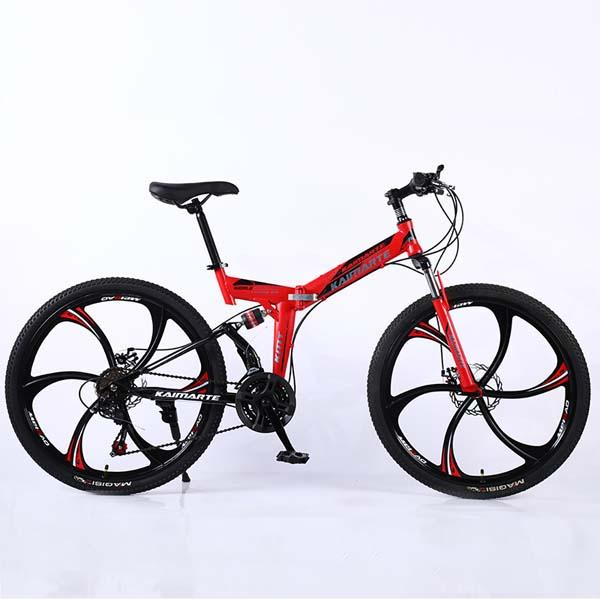Adult mountain bike folding bicycle shock absorption student bike 24 speed Six cutter wheel variable speed bicycle