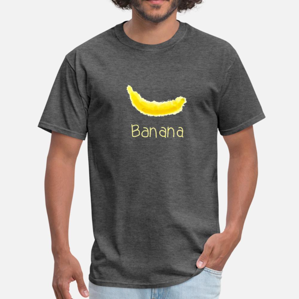 Banana t shirt homens Design 100% algodão camisa gola Letters Anti-rugas Humor Primavera Outono Tendência