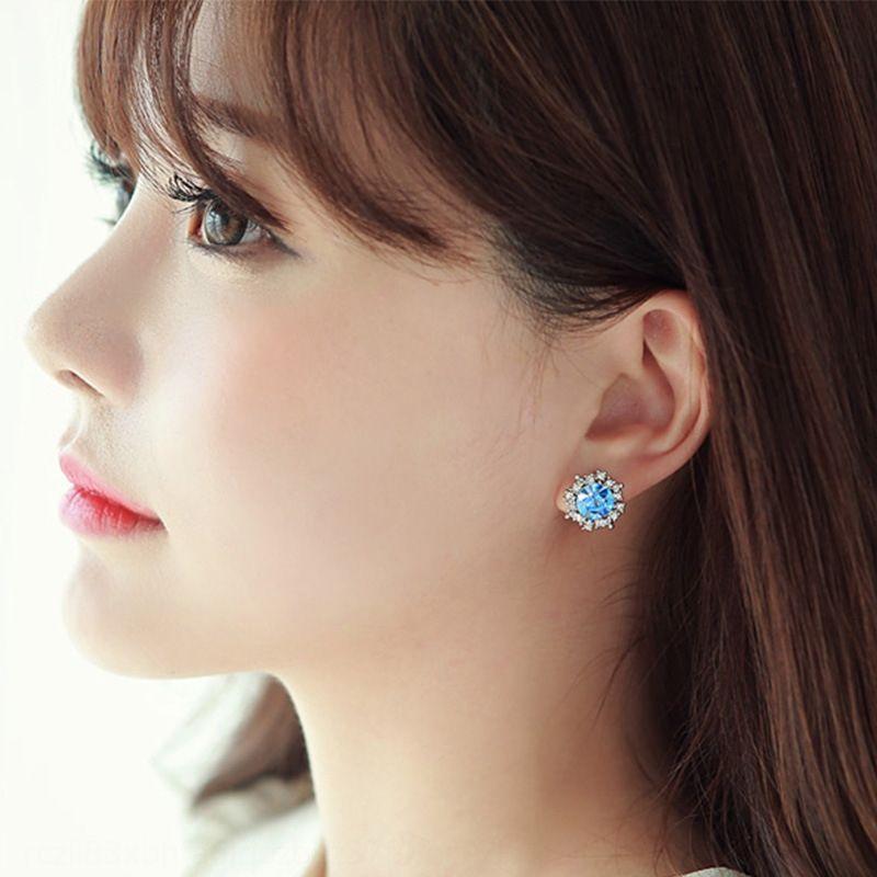 925 pendientes de plata de estilo y de girasol diamante coreano, simple de diamantes pendientes de la manera creativa Vc91y