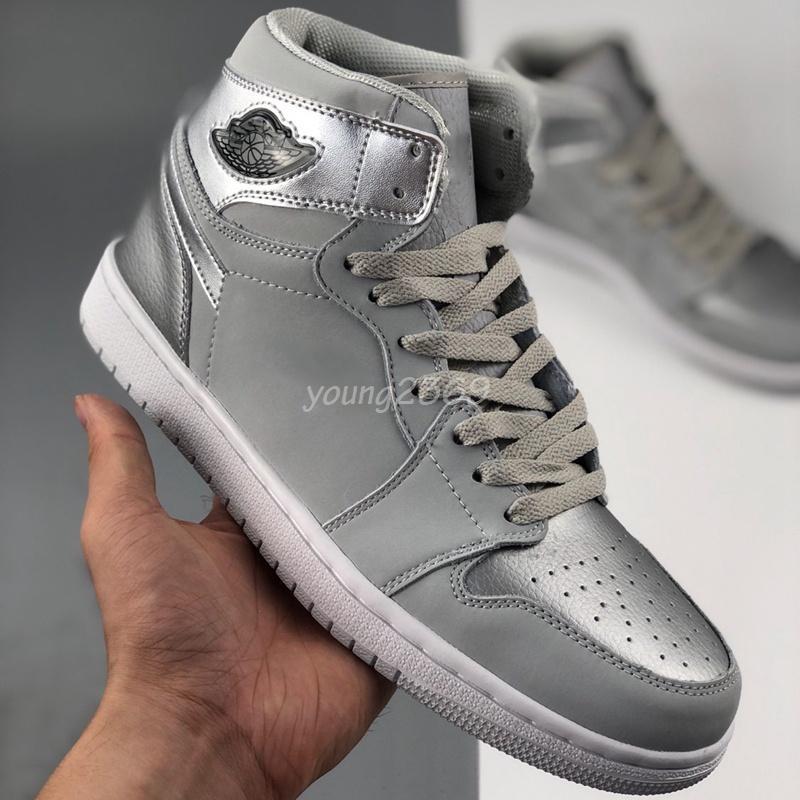 2020 Jumpman 1 1S High Og Co Япония нейтральный серый зум ZEN зеленая атласная змея Чикаго фиолетовый белый мужской баскетбол обувь спортивные кроссовки
