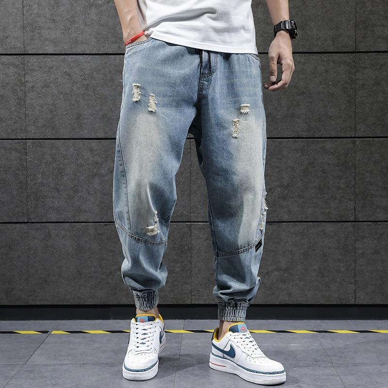 hywlG лето рваные мужские уличные и джинсы брюки и джинсы моды рыхлую L Корейский Стильный пучки ног лодыжки длины брюки синие маленькие ноги