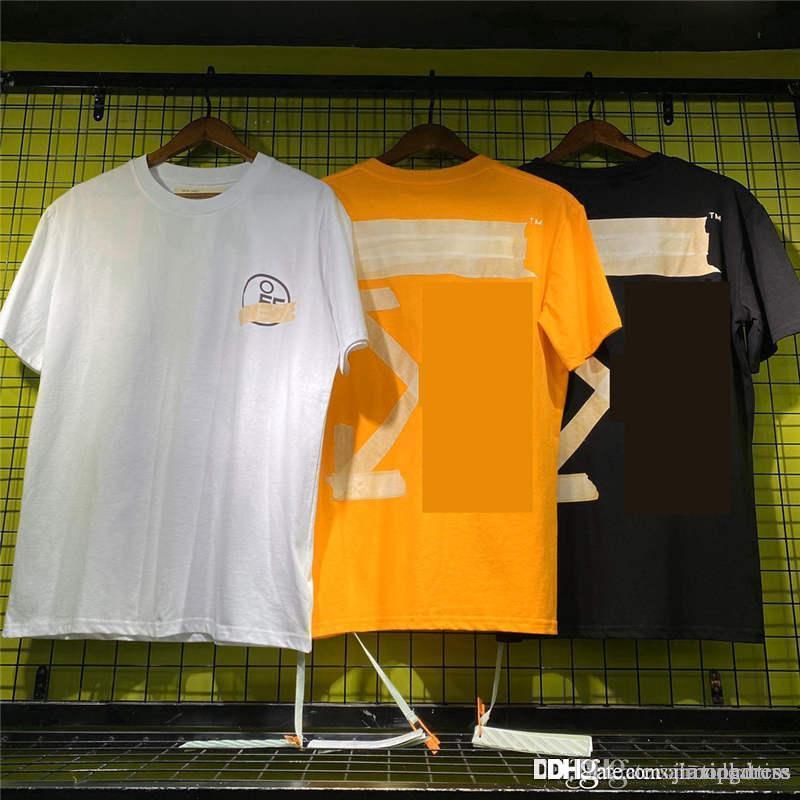 shirt impresso t 2020 Novo estilo para homens e mulheres moda casual Off blak Whiter Marca camisas slim fit Designer guarnições Masculino