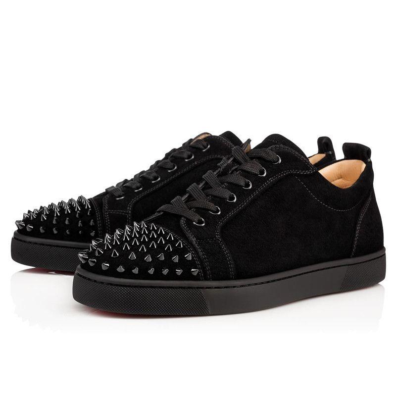 2020 Red Bottom Low Cut Spikes Flats Chaussures Meilleur Qualtiy pour hommes, femmes Sneakers en cuir Souliers simple avec sac à poussière