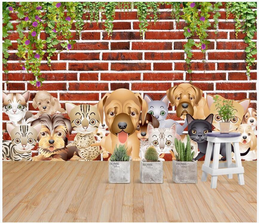 3d sfondo personalizzato foto murale Simpatici animali cani e gatti fiore rattan muro di mattoni per bambini camera negozio di animali foto wallpaper per soggiorno