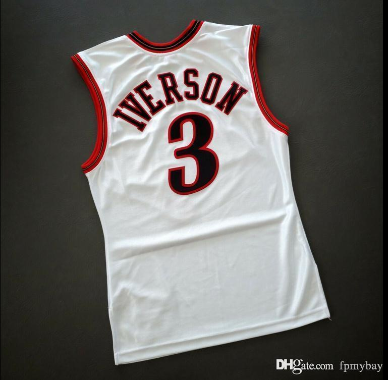 Custom Men Youth women Vintage Allen Iverson Mitchell Ness 2001 College Basketball Jersey Size S-4XL or custom any name or number jersey