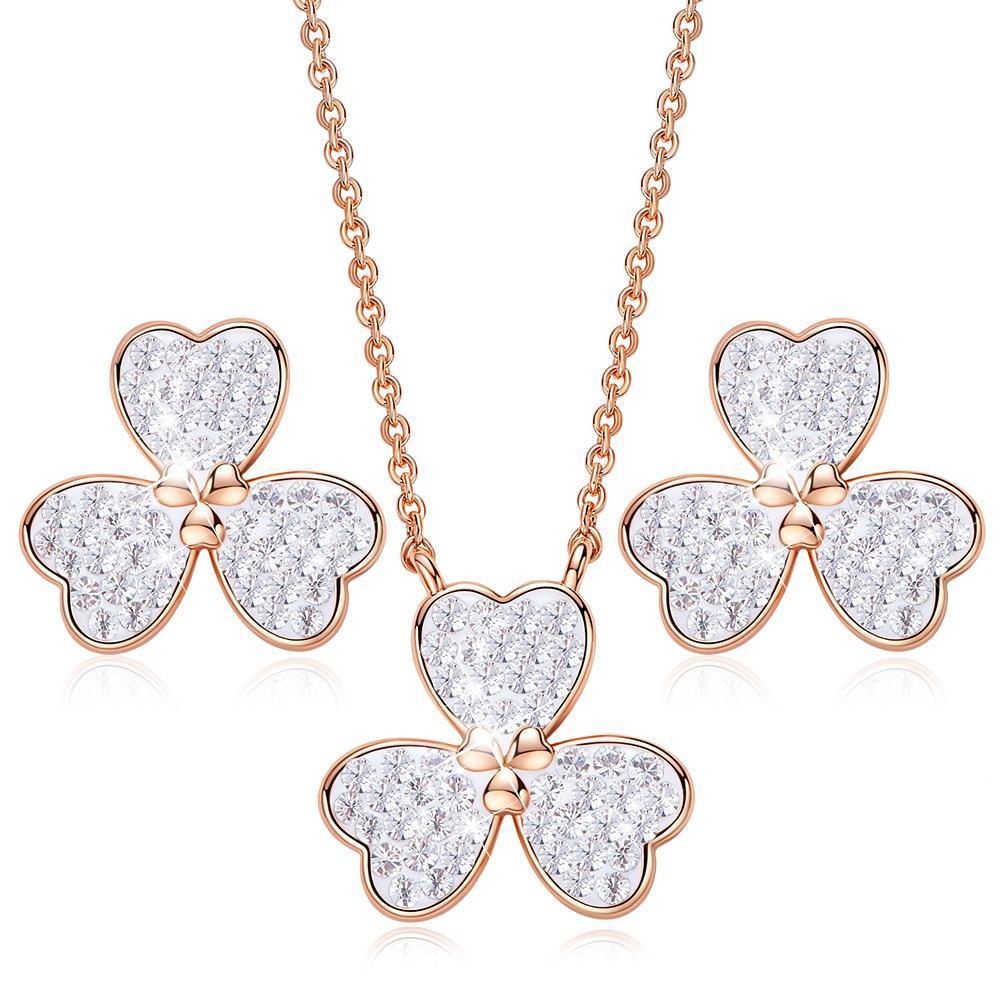 Gioielli Set ottone di cristallo di stile classico della collana dell'orecchino donne africane Clover