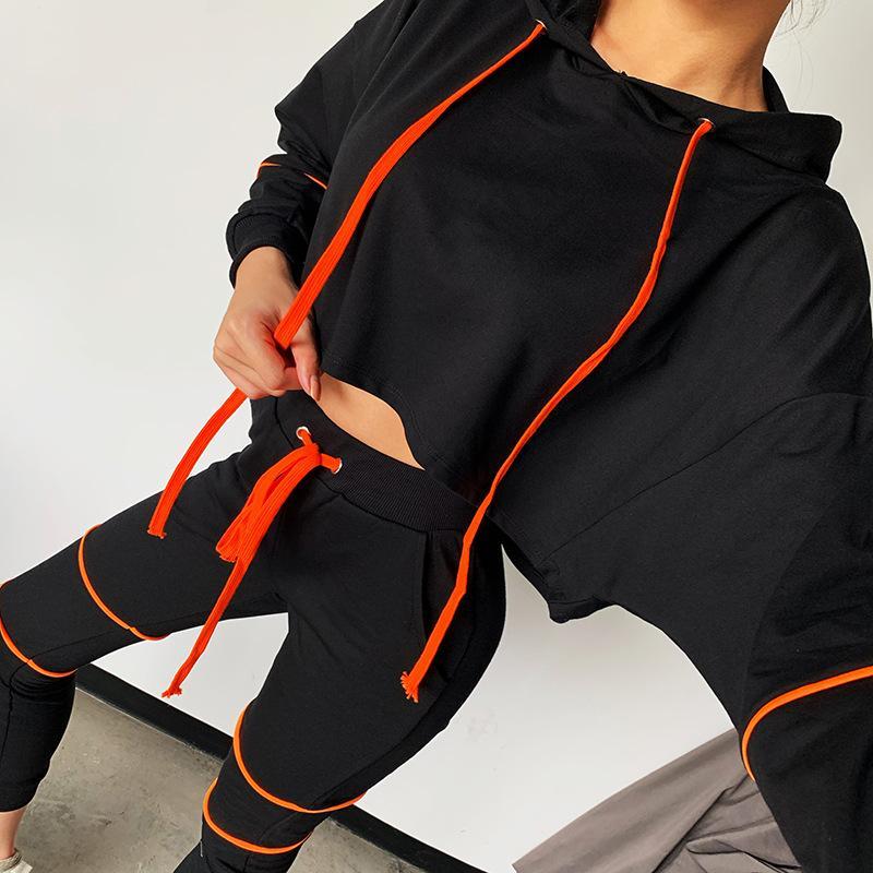 Streetwear da forma 2020 nova linha mulheres negras designer de cordão com capuz manga comprida Hoodie casuais calças de terno mulheres duas calças peça com o Real