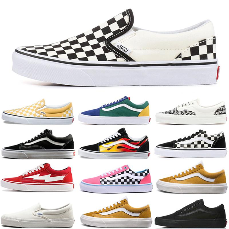 van Old Skool Fear of God Authentic Designer skateboard shoes Triple Black White Checkerboard Slip-On Fashion skate Canvas Casual sneakers