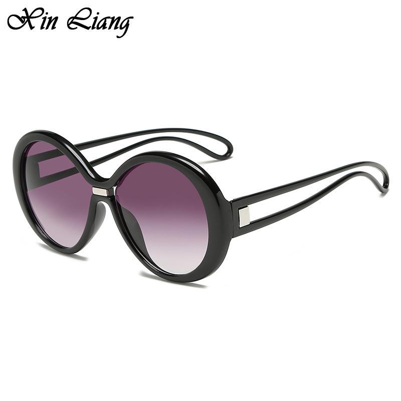 Moda Yuvarlak Güneş Kadınlar Vintage Shades Büyük Boy Güneş Okyanus Stil Geniş Çerçeve Güneş Vintage UV400 óculos gözlük