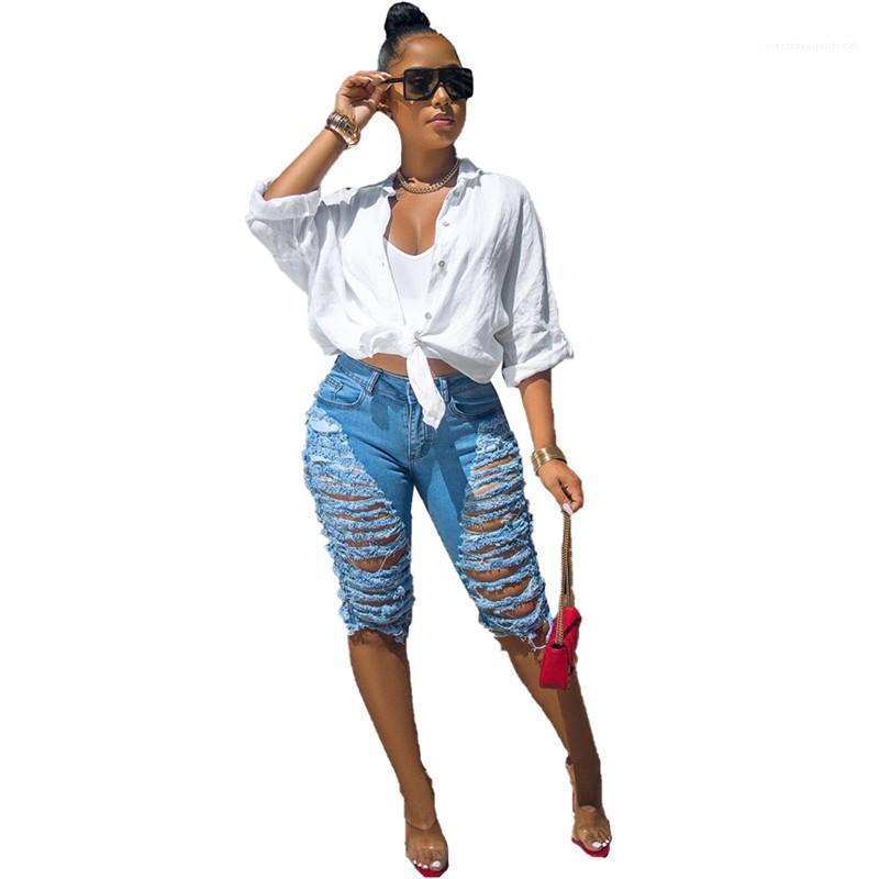 Cepler Kız Orta Bel Moda Püskül Jeans Womens ile Tasarımcı Düğme Fly Jeans Yaz Delikler Jean Diz Boyu Kalem Pantolon