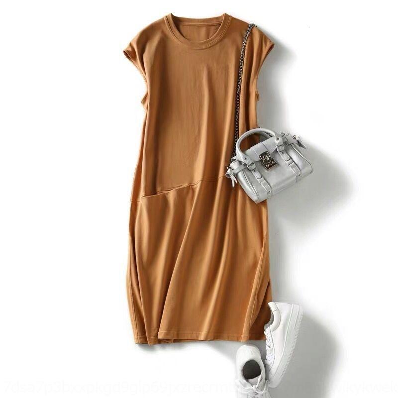 rxE63 DWqVN Büyük boy tişört kadın etek tarzı yaz peri gevşek düz renk tişört elbise Koreli bayan etekleri orta boy pop zayıflama
